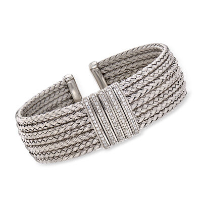 Italian .60 ct. t.w. CZ Multi-Row Cuff Bracelet in Sterling Silver, , default