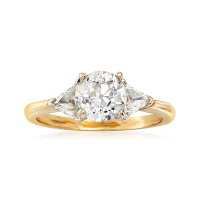C. 1980 Vintage 1.60 ct. t.w. Diamond Ring in 14kt Yellow Gold, , default