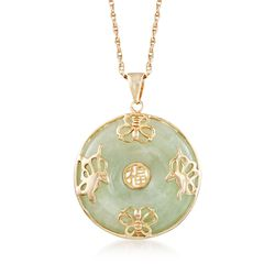 "Green Jade ""Good Luck"" Butterfly Pendant Necklace in 18kt Gold Over Sterling. 18"", , default"