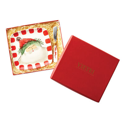 """Vietri """"Old St. Nick"""" Square Platter with Spreader from Italy"""