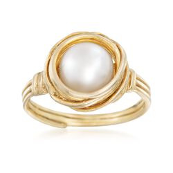 7mm Cultured Pearl Swirl Ring in 18kt Gold Over Sterling, , default