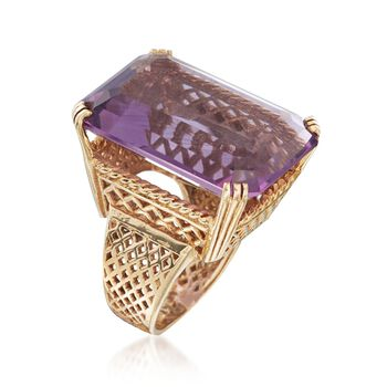 C. 1960 Vintage 25.00 Carat Amethyst in 14kt Yellow Gold. Size 4.5, , default