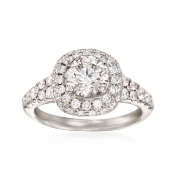 2.02 ct. t.w. Certified Diamond Halo Engagement Ring in 18kt White Gold, , default