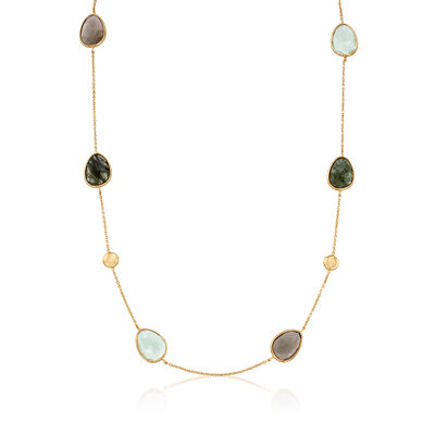 C. 1980 Vintage Multicolored Quartz Station Necklace in 14kt Yellow Gold
