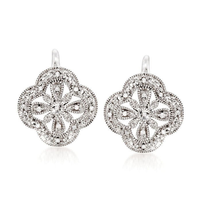 Sterling Silver Openwork Clover Motif Drop Earrings with Diamond Accents , , default