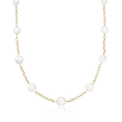 12-15mm Cultured South Sea Pearl Station Necklace in 14kt Yellow Gold, , default