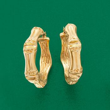 "Italian 14kt Yellow Gold Bamboo-Style Hoops. 1 1/4"""
