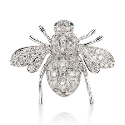 1.03 ct. t.w. Diamond Insect Pin in 18kt White Gold