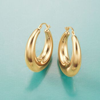 Andiamo 14kt Yellow Gold Graduated Hoop Earrings. 1""