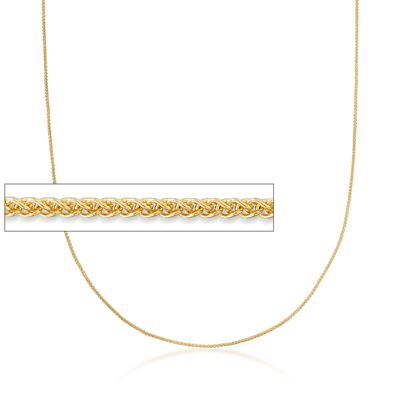 1mm 14kt Yellow Gold Adjustable Wheat Chain Necklace, , default