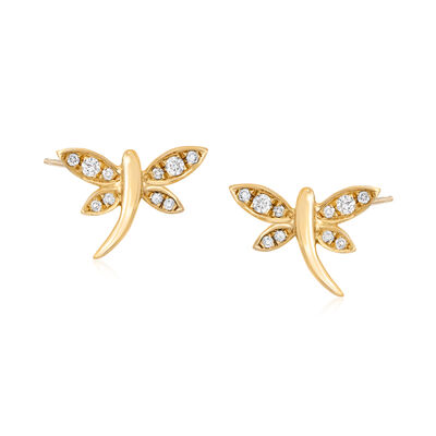 .15 ct. t.w. Diamond Dragonfly Stud Earrings in 18kt Gold Over Sterling