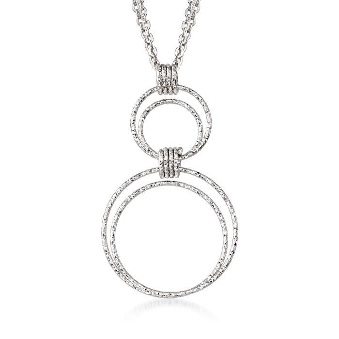 "Italian Sterling Silver Diamond-Cut Double Circle Pendant Necklace. 18"", , default"