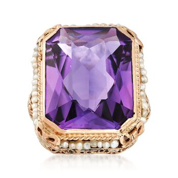 C. 1950 Vintage 16.00 Carat Amethyst and 1.5mm Cultured Pearl Ring in 14kt Yellow Gold. Size 6, , default