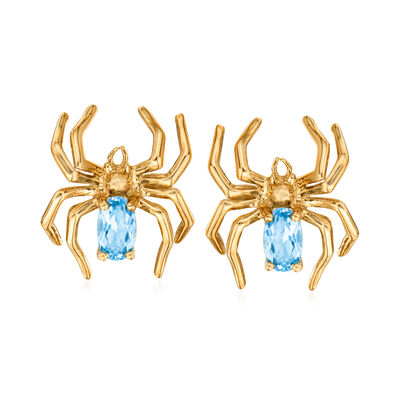 .50 ct. t.w. Swiss Blue Topaz Spider Earrings in 14kt Yellow Gold