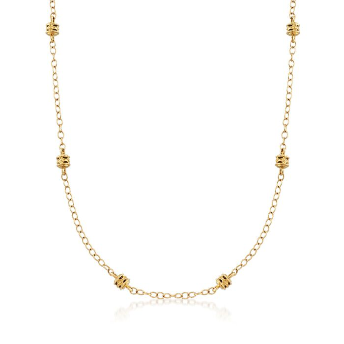 """Judith Ripka """"Marisol"""" 18kt Yellow Gold Rondelle Bead Station Necklace. 17"""""""
