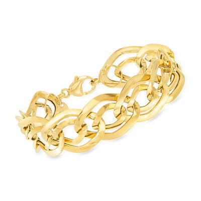Italian 18kt Yellow Gold Interlocking Link Bracelet, , default