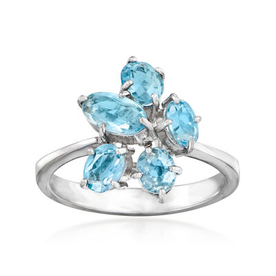 C. 1980 Vintage 1.70 ct. t.w. Aquamarine Cluster Ring in 18kt White Gold, , default