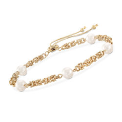 Cultured Pearl Byzantine Link Bolo Bracelet in 14kt Yellow Gold, , default