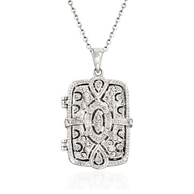 .30 ct. t.w. CZ Filigree Locket Necklace in Sterling Silver, , default