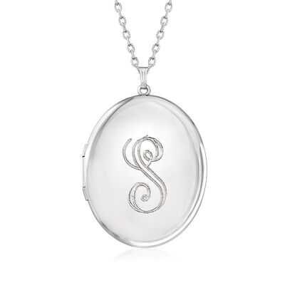 Sterling Silver Monogram Oval Locket Pendant Necklace