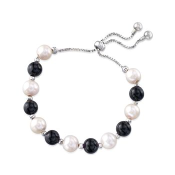 Black Onyx and 8-9mm Cultured Pearl Bolo Bracelet in Sterling Silver , , default