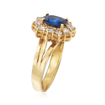 C. 1980 Vintage 1.48 Carat Sapphire and .70 ct. t.w. Diamond Ring in 18kt Yellow Gold. Size 6