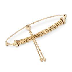 14kt Yellow Gold Woven Bar Bolo Bracelet, , default