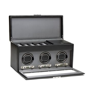 """""""Viceroy"""" Black Faux Leather Triple Watch Winder With Storage by Wolf Designs, , default"""