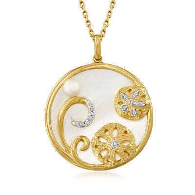 22mm Mother-Of-Pearl and 4mm Cultured Pearl Sand Dollar Pendant Necklace with Diamond Accents in 18kt Gold Over Sterling
