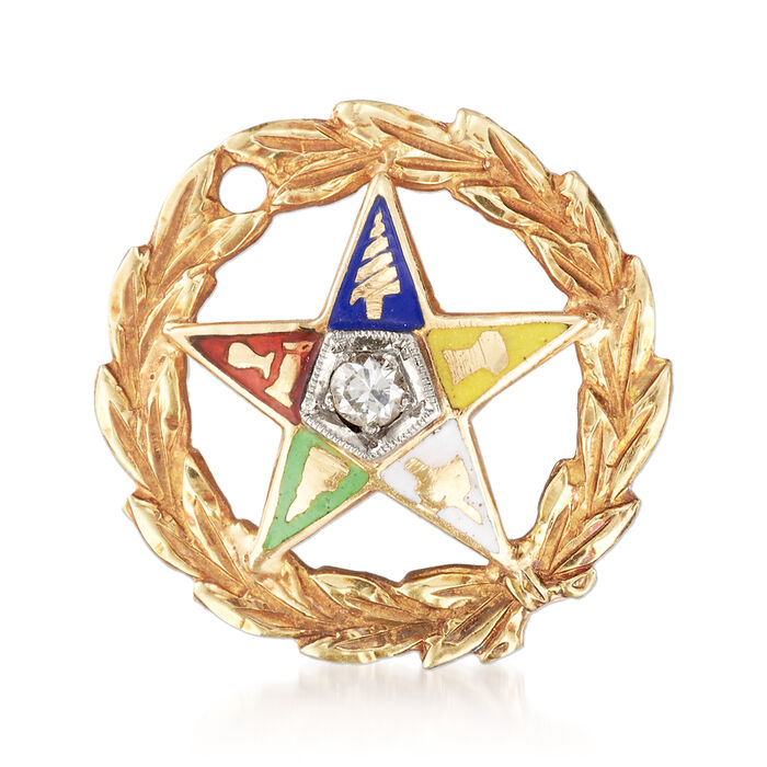 C. 1980 Vintage Multicolored Enamel Masonic Star Pin with Diamond Accent in 14kt Yellow Gold, , default