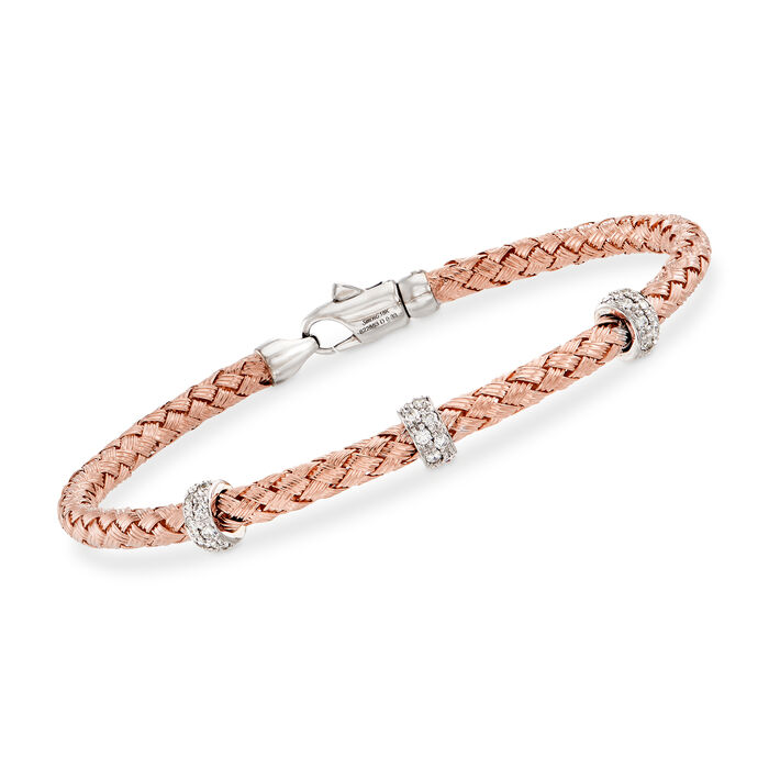 Simon G. .32 ct. t.w. Diamond Three-Station Woven Bangle Bracelet in 18kt Rose Gold. 7""