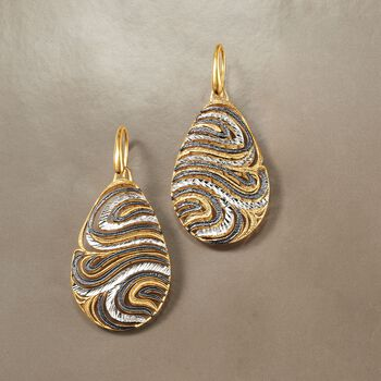 Italian Tri-Colored Sterling Silver Teardrop Swirl Earrings, , default