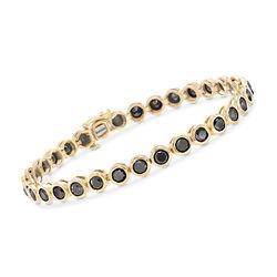 8.00 ct. t.w. Bezel-Set Black Diamond Tennis Bracelet in 14kt Yellow Gold, , default
