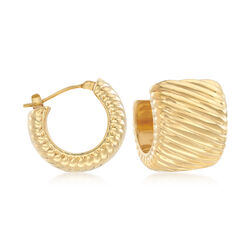 Italian Andiamo 14kt Yellow Gold Ribbed Huggie Hoop Earrings, , default