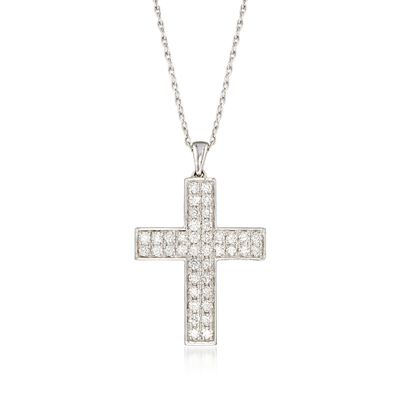 1.00 ct. t.w. Diamond Double-Row Cross Pendant Necklace in Sterling Silver, , default