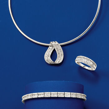 3.00 ct. t.w. Baguette and Round Diamond Bracelet in 14kt White Gold, , default