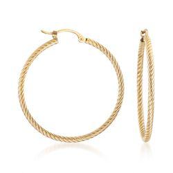 14kt Yellow Gold Roped Hoop Earrings, , default