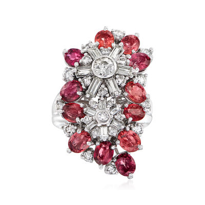 C. 1990 Vintage 5.00 ct. t.w. Orange Sapphire and 2.50 ct. t.w. Diamond Cluster Ring in 14kt and 18kt White Gold