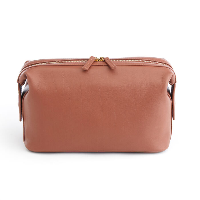 Royce Tan Pebbled Leather Double-Zip Toiletry Bag