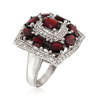 4.70 ct. t.w. Garnet and .60 ct. t.w. White Topaz Ring in Sterling Silver, , default