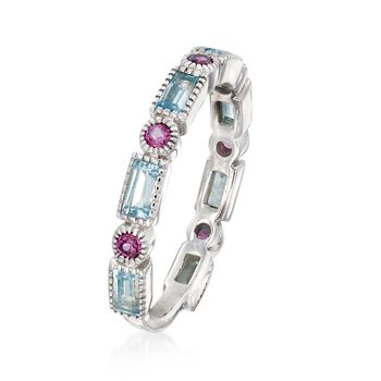 1.40 ct. t.w. Sky Blue Topaz and .50 ct. t.w. Rhodolite Garnet Ring in Sterling Silver
