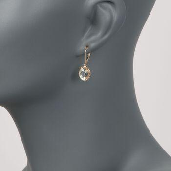 3.20 ct. t.w. Green Amethyst Twisted Frame Drop Earrings in 14kt Yellow Gold, , default