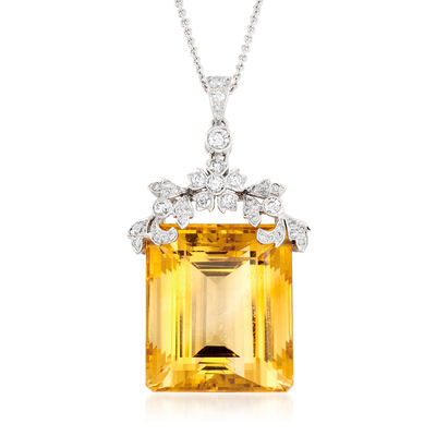 C. 1990 Vintage 48.50 Carat Citrine and .73 ct. t.w. Diamond Necklace in 14kt White Gold, , default