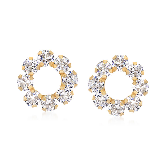 1.60 ct. t.w. CZ Open Circle Earrings in 14kt Yellow Gold