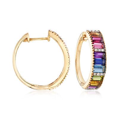 2.00 ct. t.w. Multi-Gemstone and .10 ct. t.w. Diamond Hoop Earrings in 14kt Yellow Gold, , default