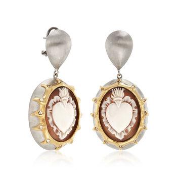 Italian Cameo Shell Heart Earrings in 18kt Gold Over Sterling Silver, , default