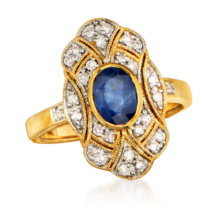 .90 Carat Sapphire and .33 ct. t.w. Diamond Ring in 18kt Gold Over Sterling