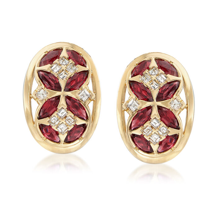 C. 1980 Vintage 2.40 ct. t.w. Ruby and .85 ct. t.w. Diamond Clip-On Earrings in 18kt Yellow Gold, , default
