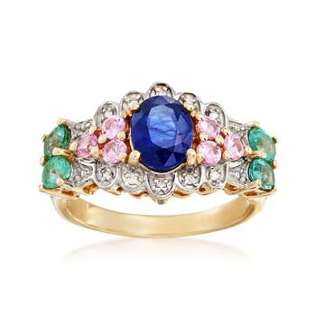 Sapphire and 1.10 ct. t.w. Multi-Stone Ring With Diamond Accents in 14kt Yellow Gold , , default