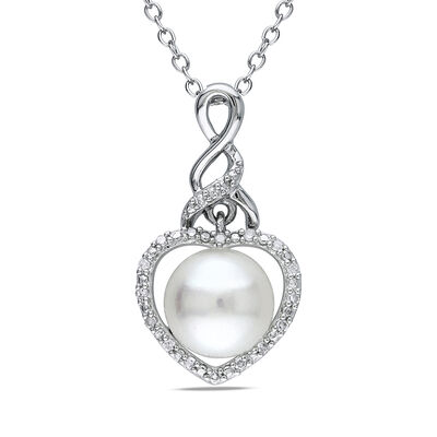 8-8.5mm Cultured Button Pearl Pendant Necklace with Diamond Accents in Sterling Silver, , default